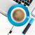 kék · kávéscsésze · irodaszerek · felülnézet · fehér · üzlet - stock fotó © karandaev