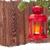 christmas candle lantern on fir tree branch in snow stock photo © karandaev