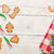 christmas background with candy cane gingerbread cookies and sn stock photo © karandaev