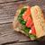 sanduíche · salmão · salada · topo · ver - foto stock © karandaev