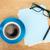 kék · kávéscsésze · irodaszerek · felülnézet · izolált · fehér - stock fotó © karandaev