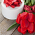 kırmızı · lale · hediye · kutusu · ahşap · masa · çiçek · sevmek - stok fotoğraf © karandaev
