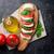 caprese · salatası · mozzarella · domates · fesleğen · peynir · ot - stok fotoğraf © karandaev