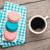 colorido · macaron · cookies · taza · café · mesa · de · madera - foto stock © karandaev