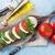 葉 · まな板 · ほうれん草 · 食品 · 木材 · 背景 - ストックフォト © karandaev