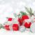 karácsony · piros · ajándékdobozok · hó · copy · space · boldog - stock fotó © karandaev