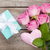 gift box pink roses bouquet and heart toy stock photo © karandaev