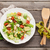 tazón · pollo · ensalada · cesar · huevo · espacio · verde - foto stock © karandaev