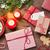 karácsonyfa · ébresztőóra · ajándékok · karácsony · fából · készült · hó - stock fotó © karandaev