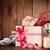 karácsony · ajándékdobozok · ébresztőóra · fenyőfa · fa · asztal · felső - stock fotó © karandaev