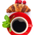 cup of coffee fresh croissant and berries stock photo © karandaev