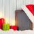 piros · égő · karácsony · gyertya · örökzöld · rusztikus - stock fotó © karandaev