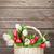 színes · tulipánok · virágcsokor · kosár · fából · készült · fal - stock fotó © karandaev