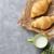 vers · croissants · melk · mand · houten · tafel · tabel - stockfoto © karandaev