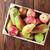 fraîches · pommes · bois · boîte · isolé · blanche - photo stock © karandaev