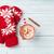 Navidad · mitones · chocolate · caliente · malvavisco · mesa · de · madera · superior - foto stock © karandaev