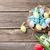 húsvéti · tojások · színes · tulipánok · virágcsokor · fából · készült · fal - stock fotó © karandaev