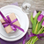 purple tulip bouquet and plate with gift box stock photo © karandaev