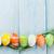 easter · eggs · tavolo · in · legno · blu · top · view · copia · spazio - foto d'archivio © karandaev