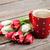 bianco · tazza · di · caffè · magenta · rosa · tulipani - foto d'archivio © karandaev