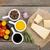 parmesan · peyniri · otlar · baharatlar · domates · ahşap · masa · kâğıt - stok fotoğraf © karandaev