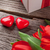red tulips and valentines day candy hearts stock photo © karandaev