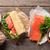 sanduíche · salmão · café · da · manhã · suco · de · laranja · comida · peixe - foto stock © karandaev