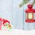 christmas candle lantern gift box and snowman stock photo © karandaev