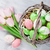 easter eggs in basket and tulips stock photo © karandaev