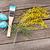 kleurrijk · paaseieren · borstel · bloem · houten · tafel · top - stockfoto © karandaev