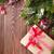 bogyó · piros · íj · szalag · karácsony · dekoráció - stock fotó © karandaev