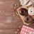 ciambella · scatola · regalo · caffè · tavolo · in · legno · top - foto d'archivio © karandaev