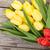 piros · tulipánok · fa · asztal · szívek · kék · felső - stock fotó © karandaev
