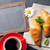 blackboard for your text croissants and coffee stock photo © karandaev