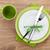 tenedor · cuchillo · placas · servilleta · mesa · de · madera · alimentos - foto stock © karandaev