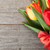 fresh colorful tulips bouquet with ribbon and bow stock photo © karandaev