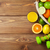 citrus fruits in basket and dumbells oranges limes and lemons stock photo © karandaev