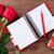 rote · Rosen · Geschenkbox · Holz · Blumen · stieg · Herz - stock foto © karandaev