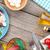 frescos · saludable · ensalada · tomates · mozzarella · mesa · de · madera - foto stock © karandaev
