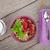 ontbijt · müsli · bessen · melk · houten · tafel - stockfoto © karandaev