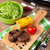 steak with grilled corn salad and red wine stock photo © karandaev