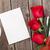 valentin · nap · üdvözlőlap · ajándék · doboz · vörös · rózsák · fa · asztal · felső - stock fotó © karandaev