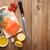 salmão · temperos · mesa · de · madeira · topo · ver · peixe - foto stock © karandaev