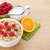healty breakfast with muesli berries milk and orange juice stock photo © karandaev