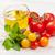 vers · kleurrijk · tomaten · basilicum · tabel · olie - stockfoto © karandaev