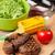 biftek · ızgara · mısır · salata · ahşap · masa - stok fotoğraf © karandaev
