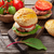 hamburger · frietjes · vork · paars · witte - stockfoto © karandaev
