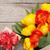 fresco · tulipas · buquê · caixa · de · presente · mesa · de · madeira · cópia · espaço - foto stock © karandaev