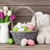 rabbit toy easter eggs and colorful tulips stock photo © karandaev