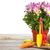 coloré · fleurs · jardin · outils · table · en · bois · ensoleillée - photo stock © karandaev